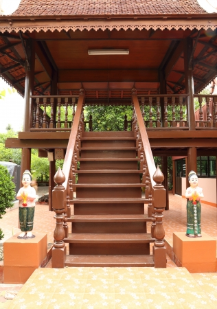 classic wooden stairs (front view) photo