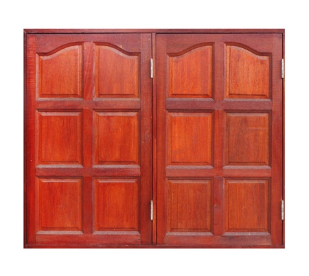 wooden window on white background (with clipping path) photo