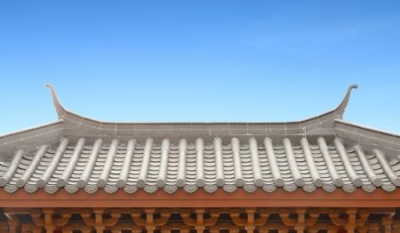 Traditional Chinese Roof with blue sky photo