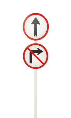 seguir adelante: adelante el camino, hacia adelante firme y no encienda signo correcto en el fondo blanco (con trazado de recorte)