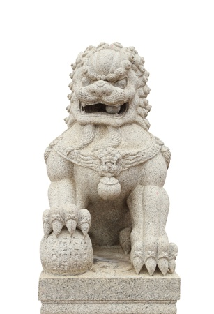 Chinese Imperial Lion Statue on white background  photo