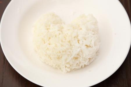 rice heart shape on whiteplate photo