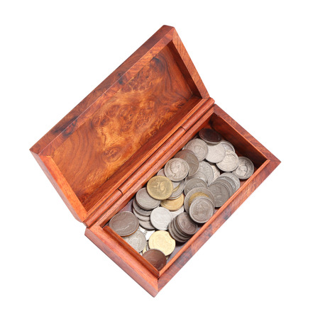 opened wooden moneybox with coins on white background  photo