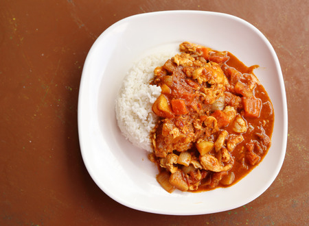 spicy chicken curry and rice on dish photo