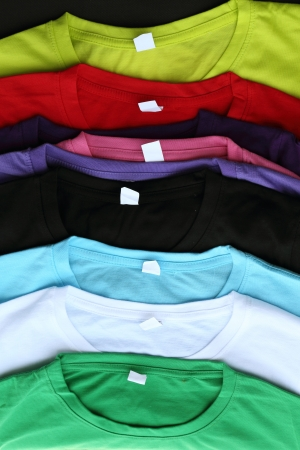 close up of several colorful t-shirts Stock Photo