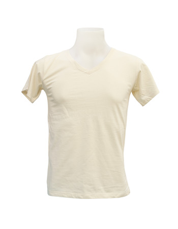 male tshirt template on the mannequin on white background (with clipping path) photo