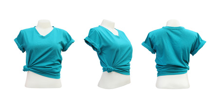 set of female tshirt template on the mannequin on white background  photo