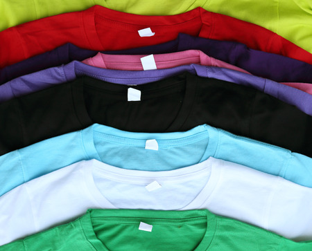close up of several colorful t-shirts 写真素材