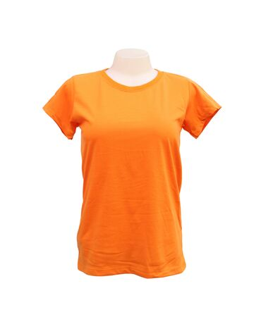 female tshirt template on the mannequin on white background (with clipping path) photo