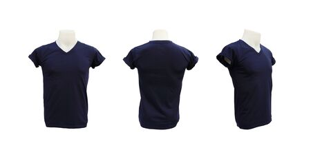 set of male tshirt template on the mannequin on white background (with clipping path) photo