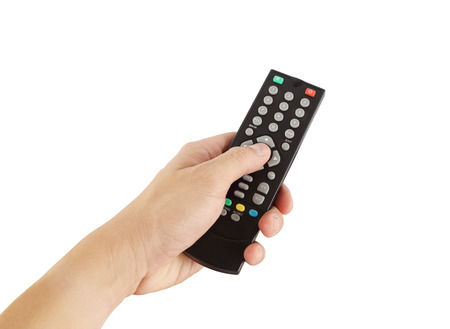 hand with remote control on white background (with clipping path) 写真素材