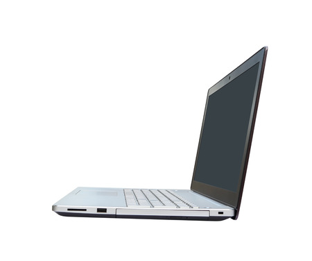 laptop computer on white background (with clipping path) photo