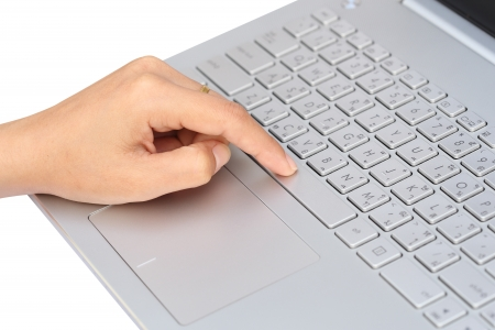 finger pushing the space bar button of keyboard Banco de Imagens