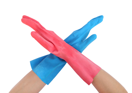 inhibit: hand with gloves and stopping on white background