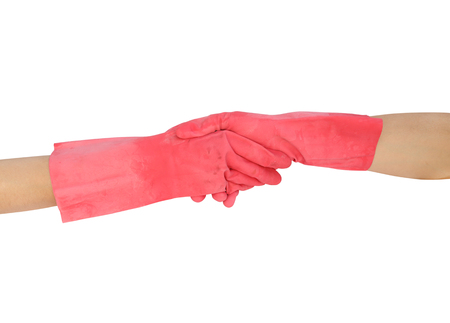 hand shake in a rubber gloves isolated on white background (with clipping path) photo