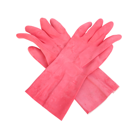 disallow: household protective rubber gloves Isolated on white background (with clipping path)