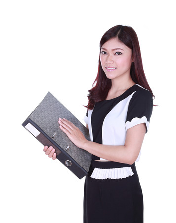 business woman confident smile holding folder documents  photo