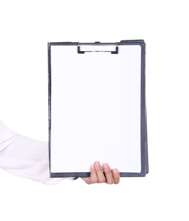 business woman hand holding blank clipboard isolated on white photo