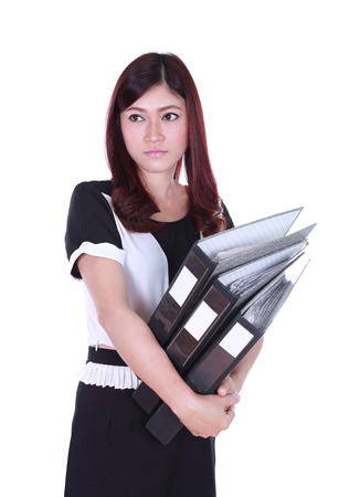 business woman holding stack of folders documents  photo