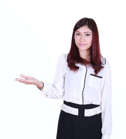woman with open palm. Copy space business concept photo