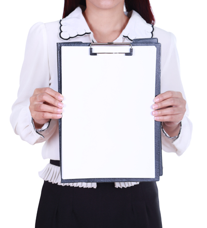 close-up business woman holding a blank clipboard  photo