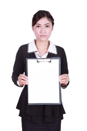 business woman holding a blank clipboard isolated on white  photo