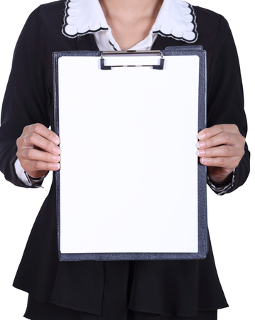 close-up business woman holding a blank clipboard isolated on white background photo