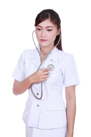 nurse with stethoscope isolated on white background photo