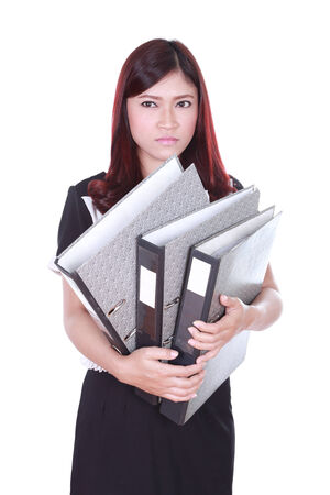 business woman holding stack of folders documents isolated on white background photo