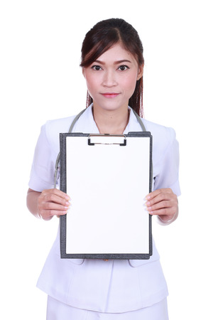 female nurse with clipboard blank fortext isolated on white background photo