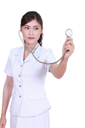 nurse with stethoscope isolated on white background photo
