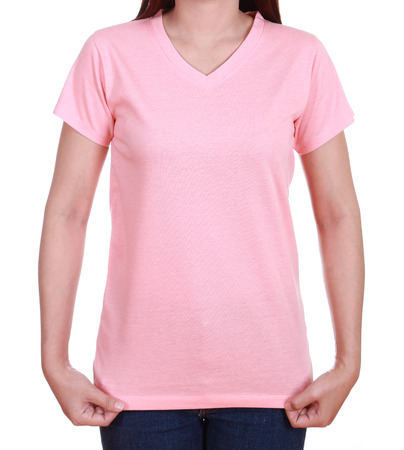 blank pink t-shirt on woman isolated on white background