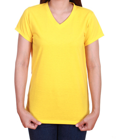 blank yellow t-shirt on woman isolated on white background photo