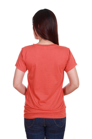 female with blank red t-shirt (back side) isolated on white background photo