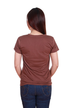 female with blank brown t-shirt (back side) isolated on white background photo