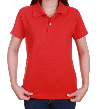 blank red polo shirt on woman isolated on white background Standard-Bild