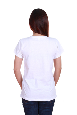 female with blank white t-shirt (back side) isolated on white background photo