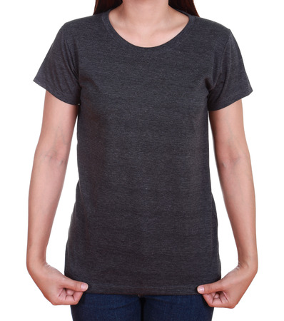 blank black t-shirt on woman isolated on white background