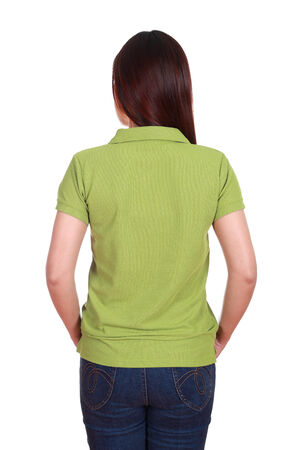 female with blank green polo shirt (back side) isolated on white background photo