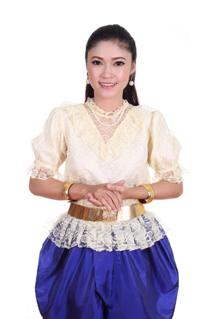 woman wearing typical thai dress isolated on white background, identity culture of thailand photo