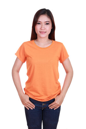 young beautiful female with blank orange t-shirt isolated on white background photo