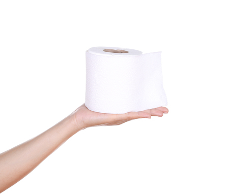 hand with toilet paper roll isola Stock Photo - 26178101