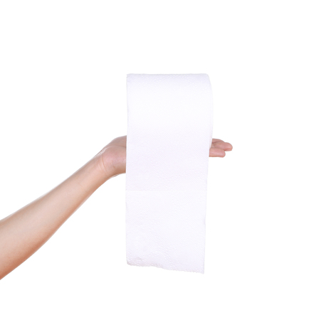 hand with toilet paper roll isola Stock Photo - 26178102