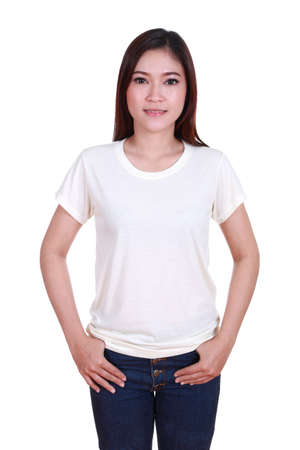 young beautiful female with blank white t-shirt isolated on white background photo