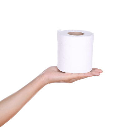 hand with toilet paper roll isola Stock Photo - 26346420