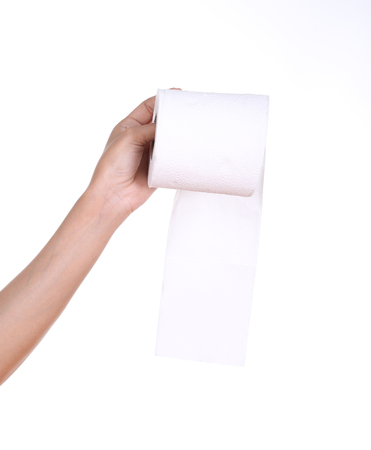 hand with toilet paper roll isola Stock Photo - 26346421