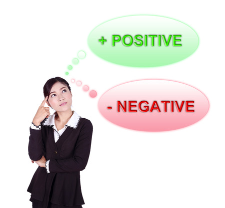 Business woman thinking about positive and negative thinking  isolated on white background photo