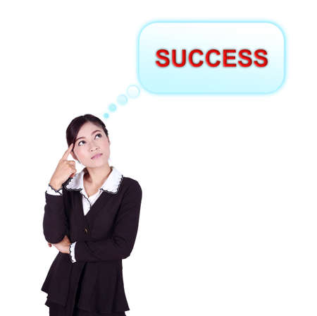 Business woman thinking about success isolated on white background photo