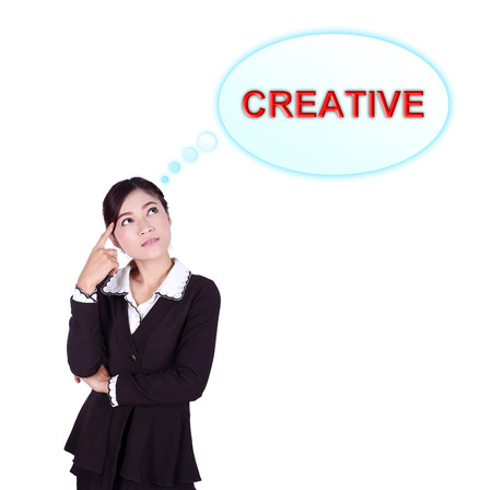 Business woman thinking about creative isolated on white background photo