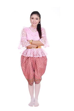 identidad cultural: mujer vestida con traje t�pico tailand�s aislados en fondo blanco, la cultura identidad de tailandia Foto de archivo